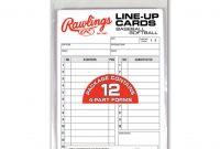 Rawlings System Baseball  Softball Lineup Cards regarding Softball Lineup Card Template