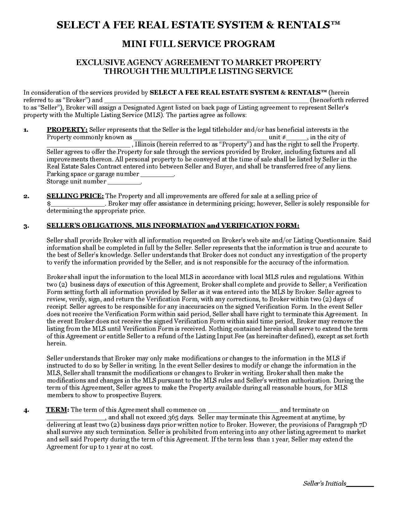 Real Estate Agency Agreement  Best Agency In The Word Intended For Real Estate Broker Fee Agreement Template