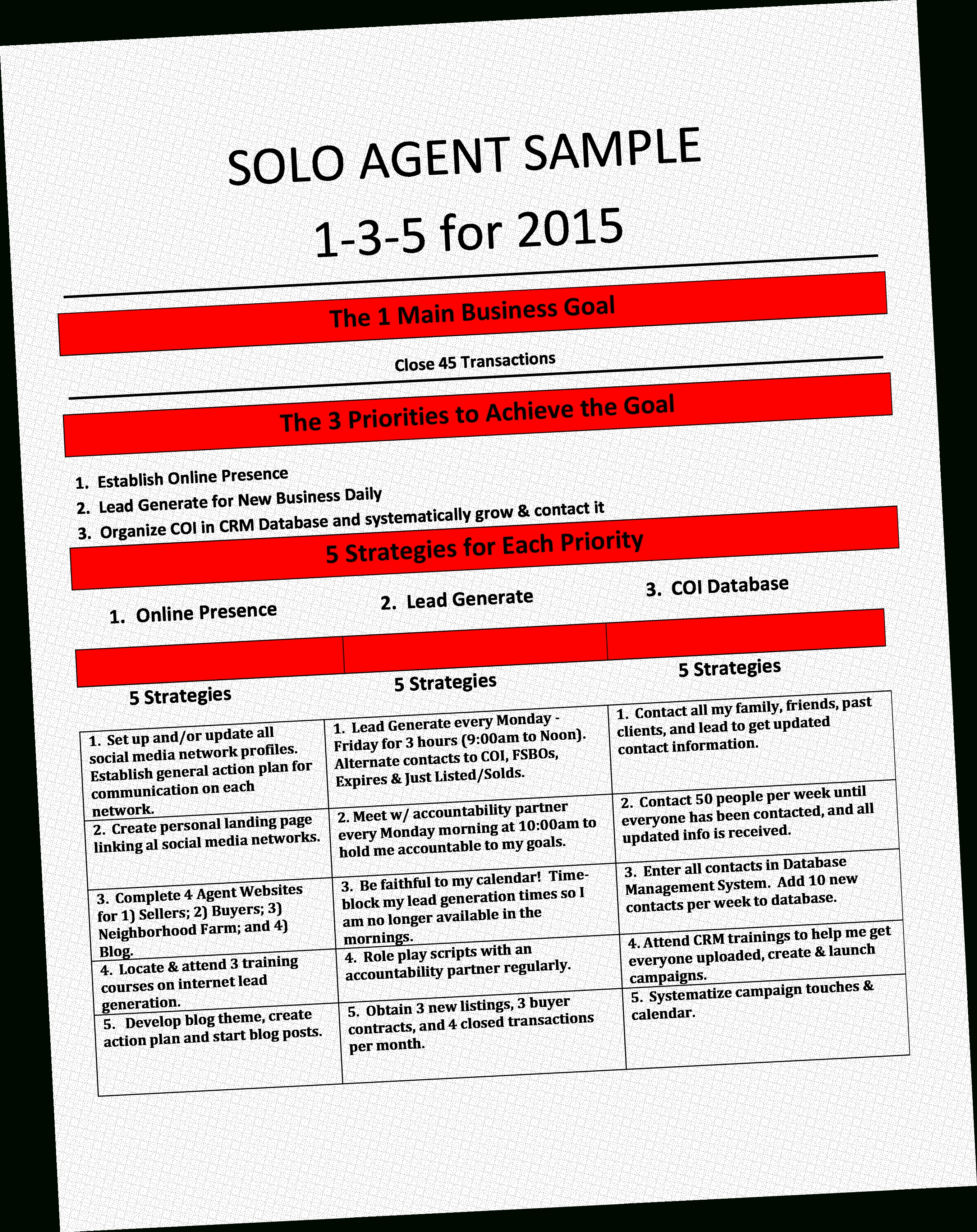 Real Estate Agent Business Plan Template Och The One Page Regarding Real Estate Agent Business Plan Template