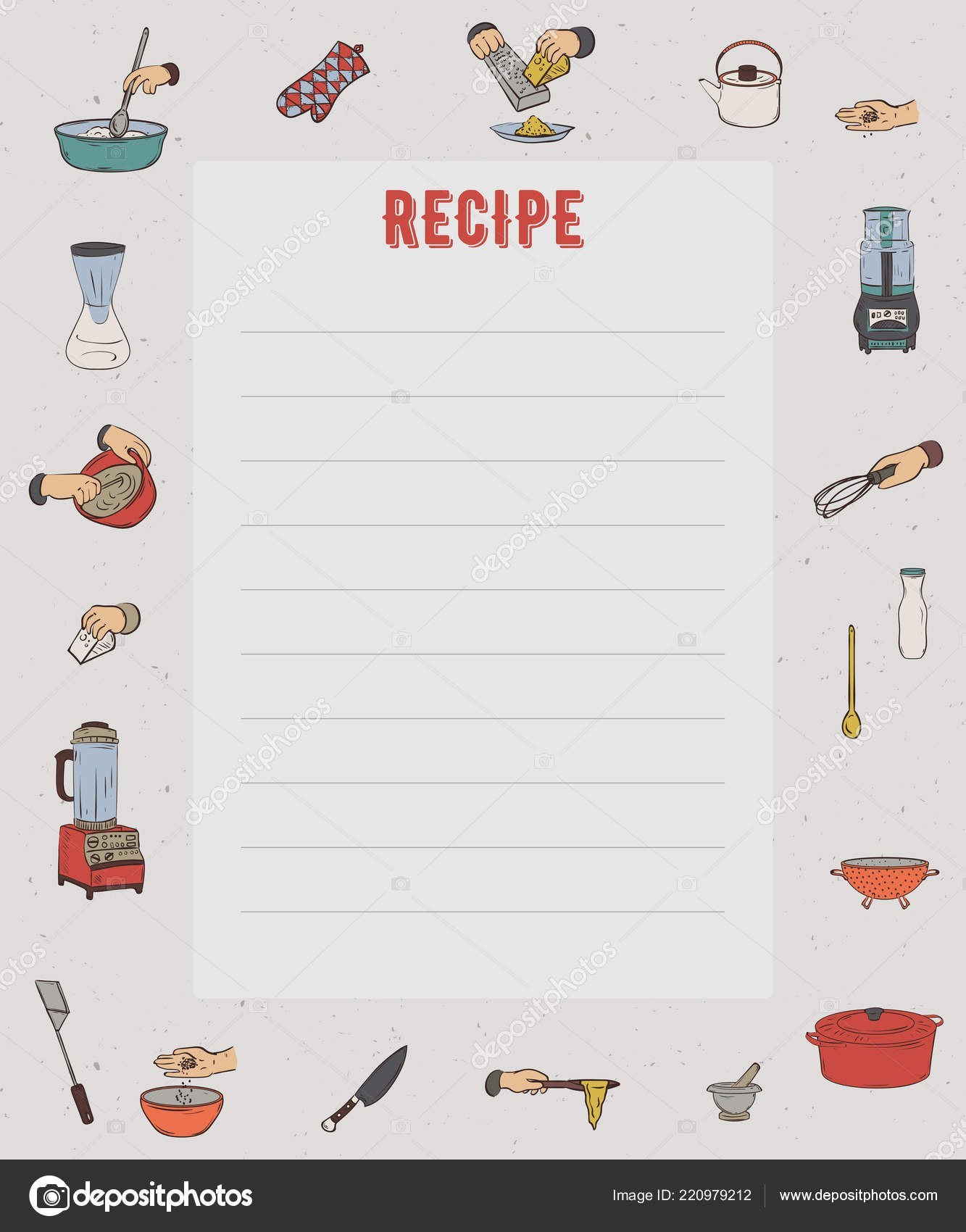 Recipe Card Cookbook Page Design Template Kitchen Utensils For Restaurant Recipe Card Template
