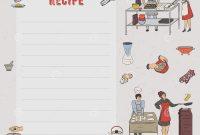 Recipe Card Cookbook Page Design Template With People Preparing regarding Restaurant Recipe Card Template