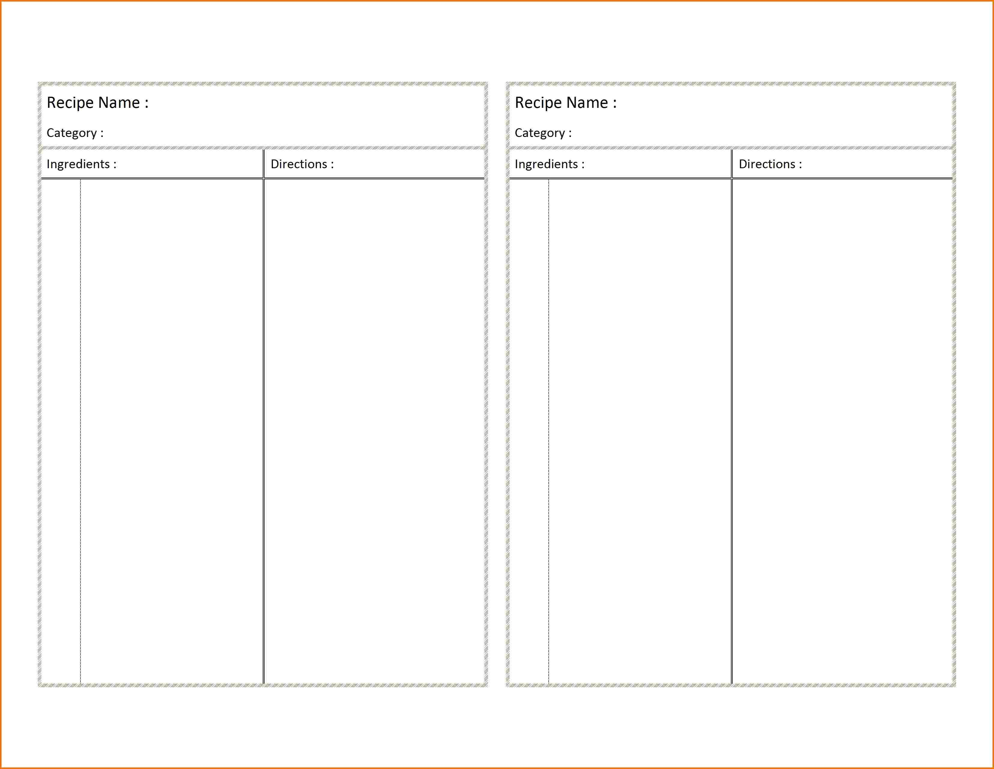 Recipe Card Template For Word  Authorization Letter Pdf With Regard To Microsoft Word Recipe Card Template