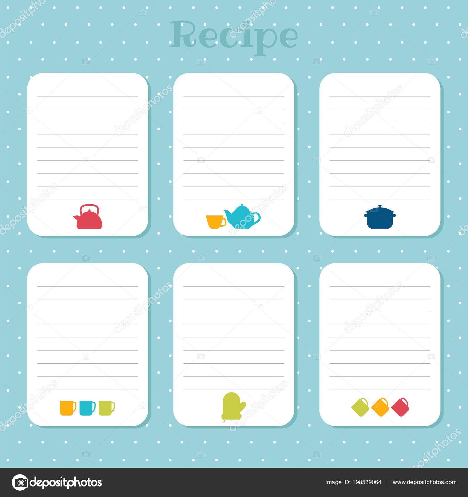 Recipe Cards Set Cooking Card Templates Restaurant Cafe Bakery Fast Regarding Restaurant Recipe Card Template