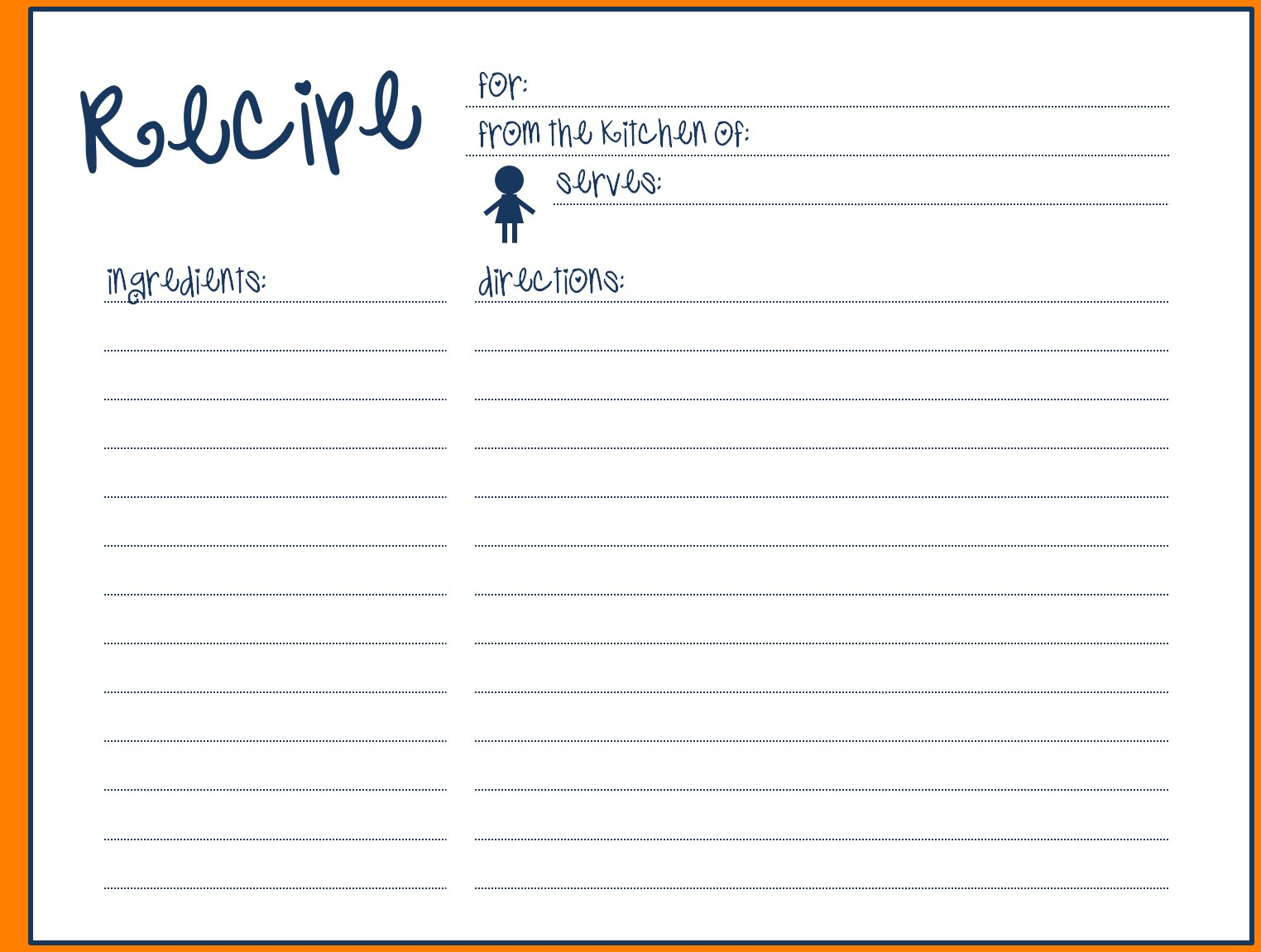 Recipe Template For Word Blank Card Simple Fillable Ideas With Fillable Recipe Card Template