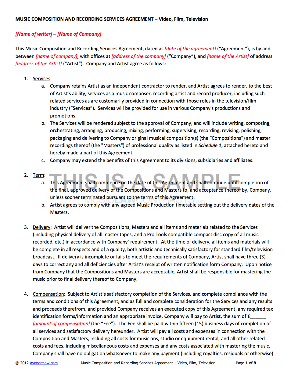 Record Label Contract Template Recording Contracts Success Sample Inside Record Label Artist Contract Template