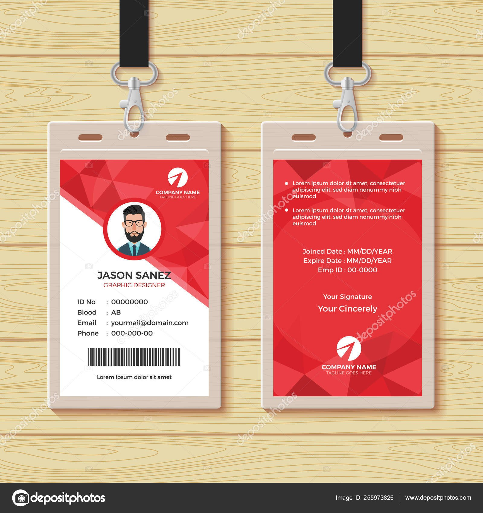 Red Geometric Employee Id Card Design Template — Stock Vector Pertaining To Company Id Card Design Template