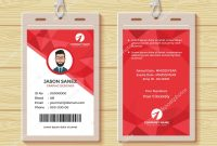 Red Geometric Employee Id Card Design Template — Stock Vector within Personal Identification Card Template