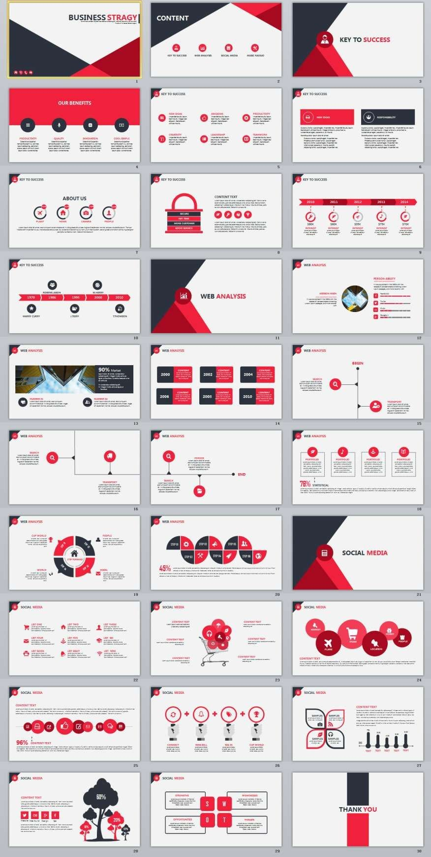 Red Infographics Business Powerpoint Template   Infographic For How To Create A Template In Powerpoint