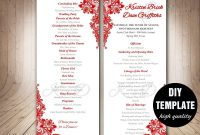 Red Wedding Program Template Instant Download Microsoft Word Red regarding Free Printable Wedding Program Templates Word