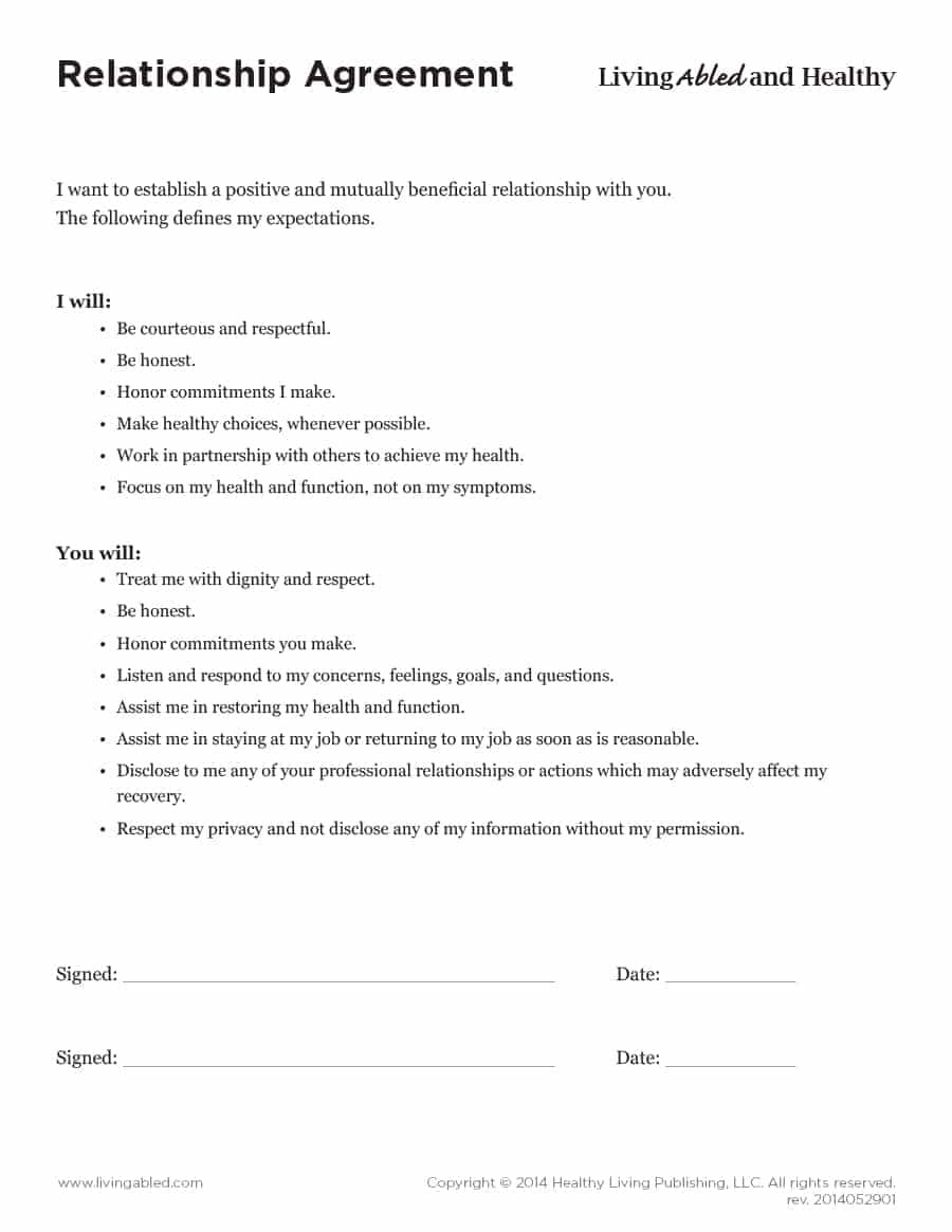 Relationship Contract Templates  Relationship Agreements Within Co Founder Separation Agreement Template