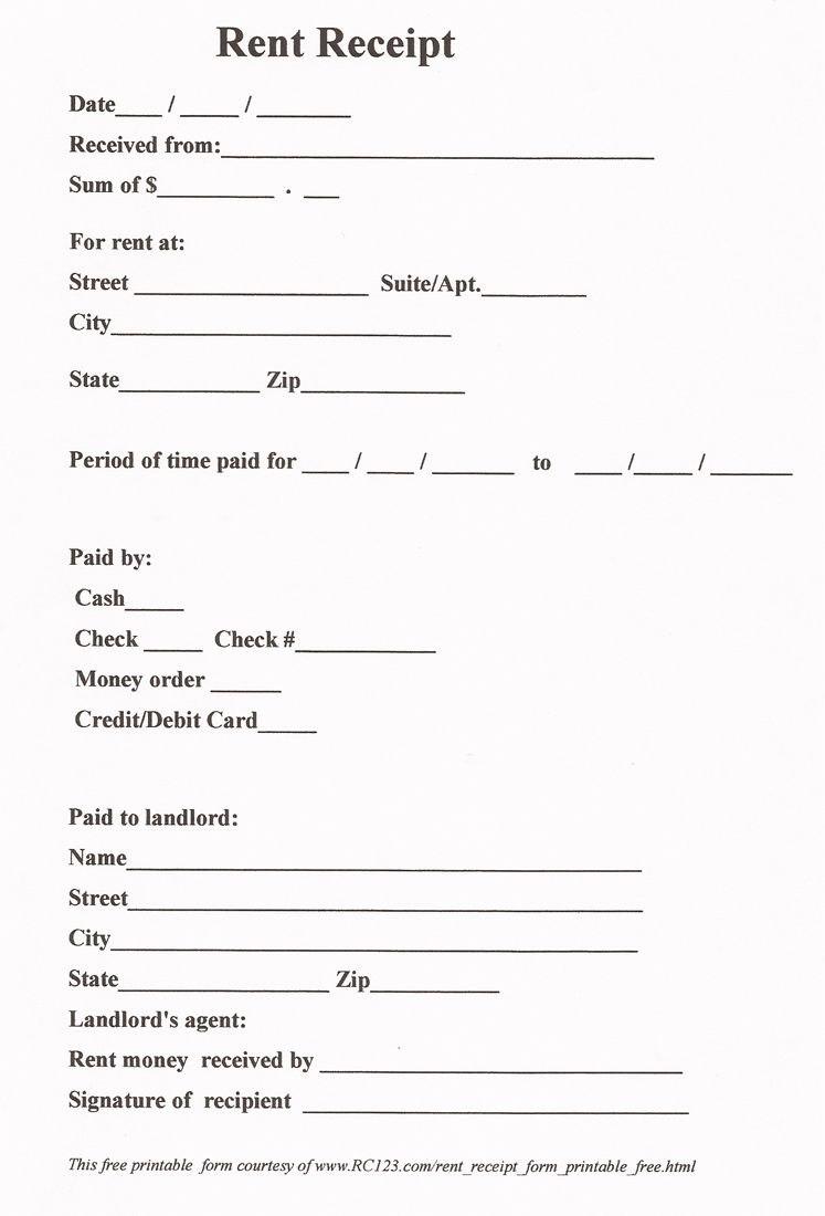 Rent Receipt Free Printable  Wwwrc  Diy In   Receipt With Regard To Boat Slip Rental Agreement Template