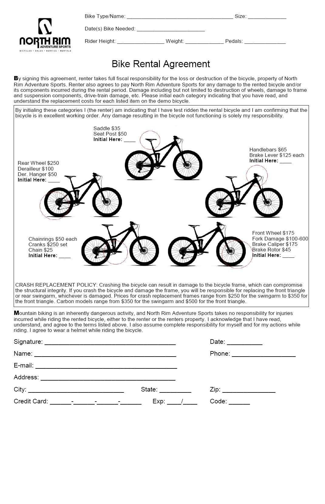 Rental Information  North Rim Adventure Sports Chico Ca With Regard To Bicycle Rental Agreement Template
