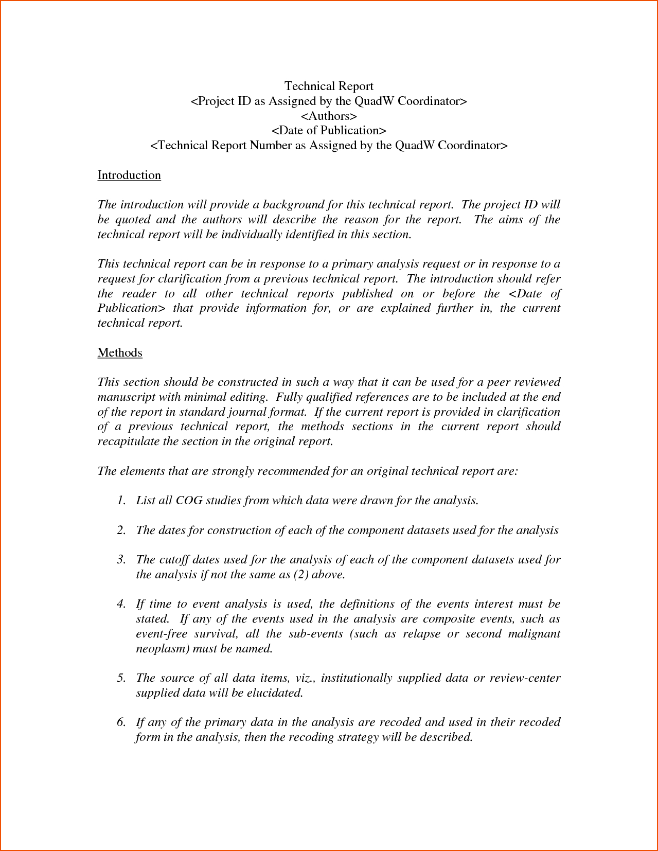 Report Template Word  Bookletemplate In Template For Technical Report