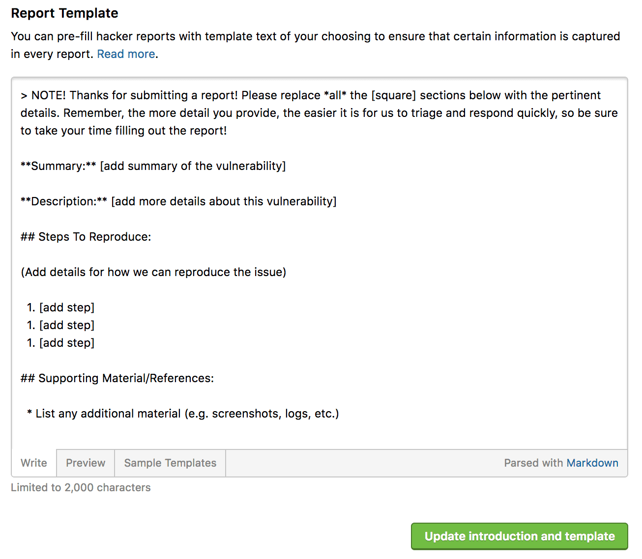 Report Templates  Hackerone Platform Documentation Inside Template On How To Write A Report