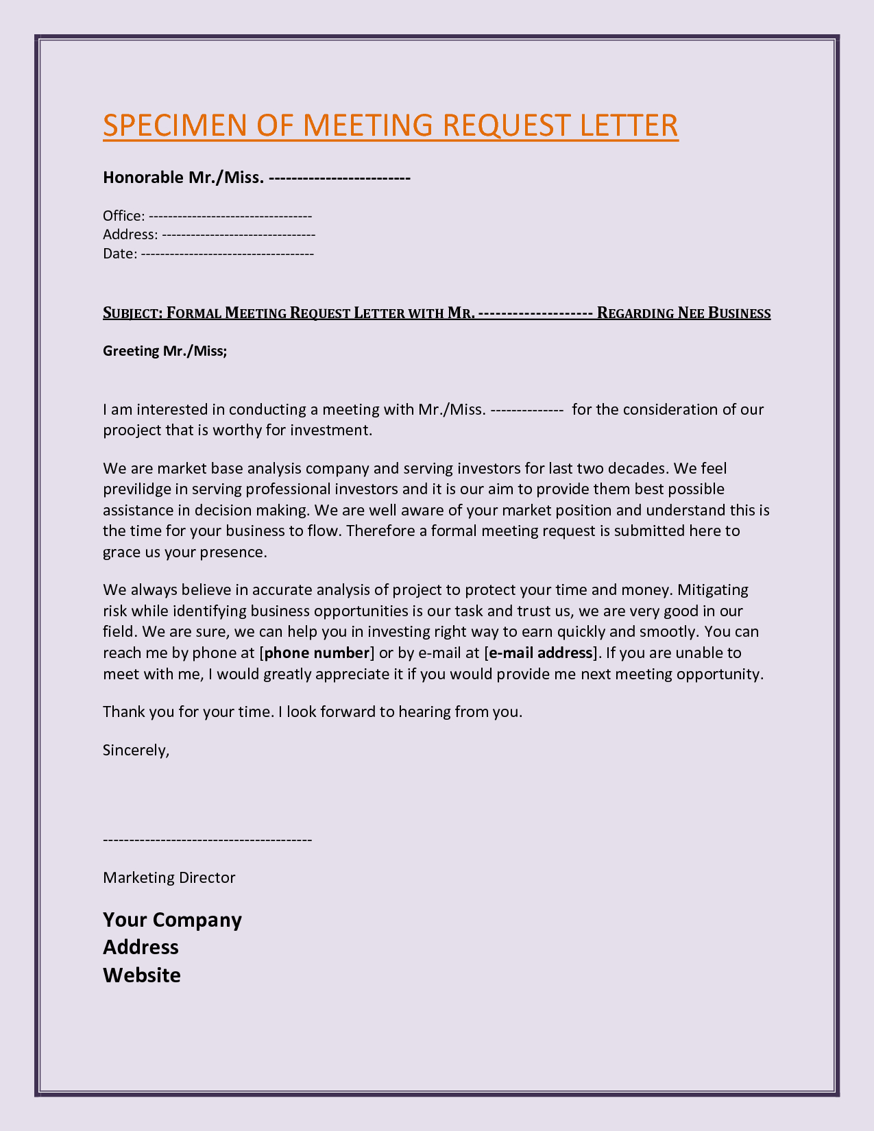 Request For Business Meeting Letter Template  Chainimage Intended For Business Meeting Request Template