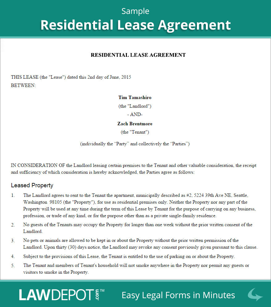 Residential Lease Agreement  Free Rental Lease Form Us  Lawdepot Inside Free Residential Lease Agreement Template