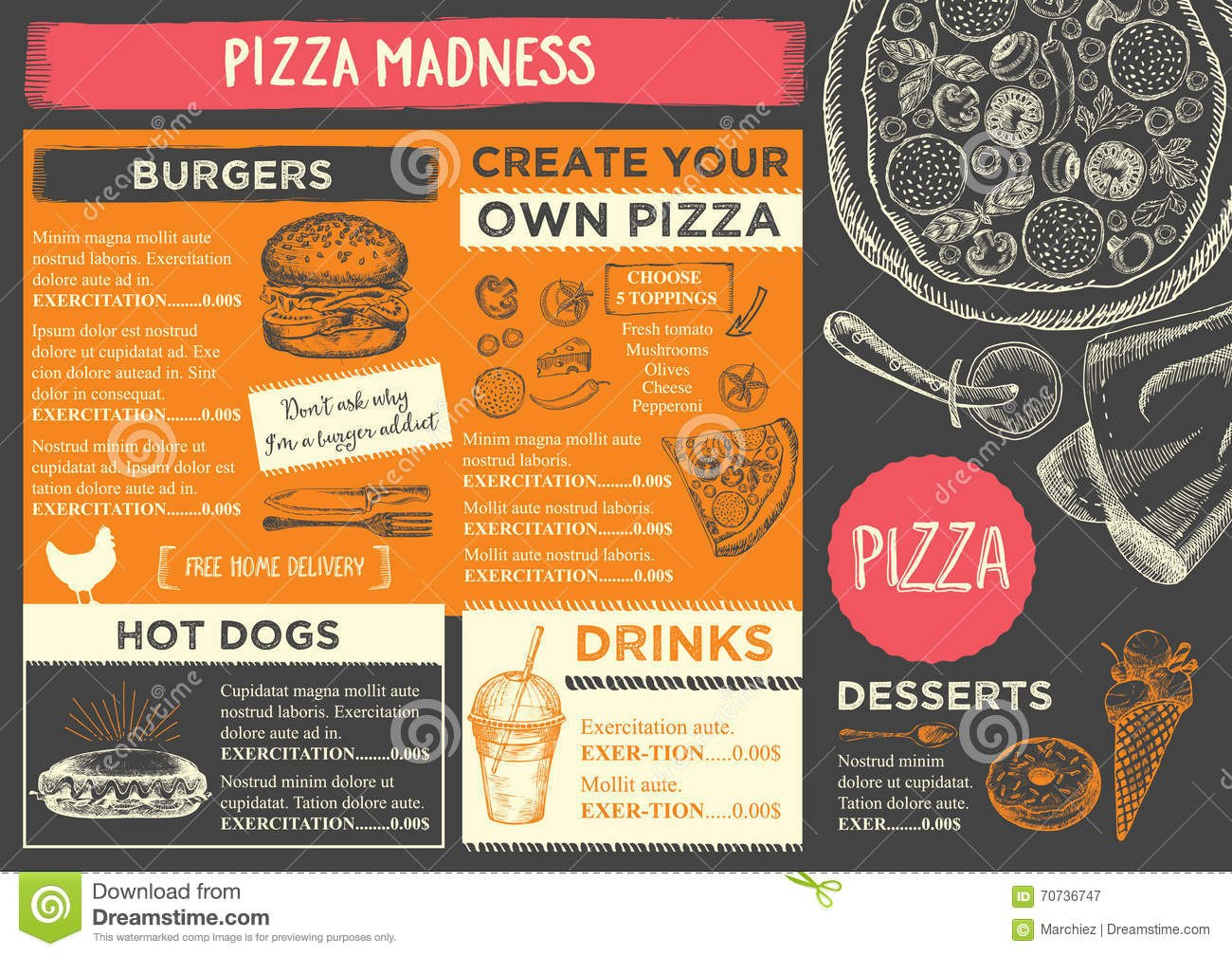 Restaurant Cafe Menu Template Design Stock Vector  Illustration With Menu Board Design Templates Free