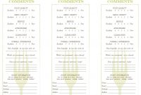 Restaurant Comment Card Template Comment Cards Talk To The Manager throughout Restaurant Comment Card Template