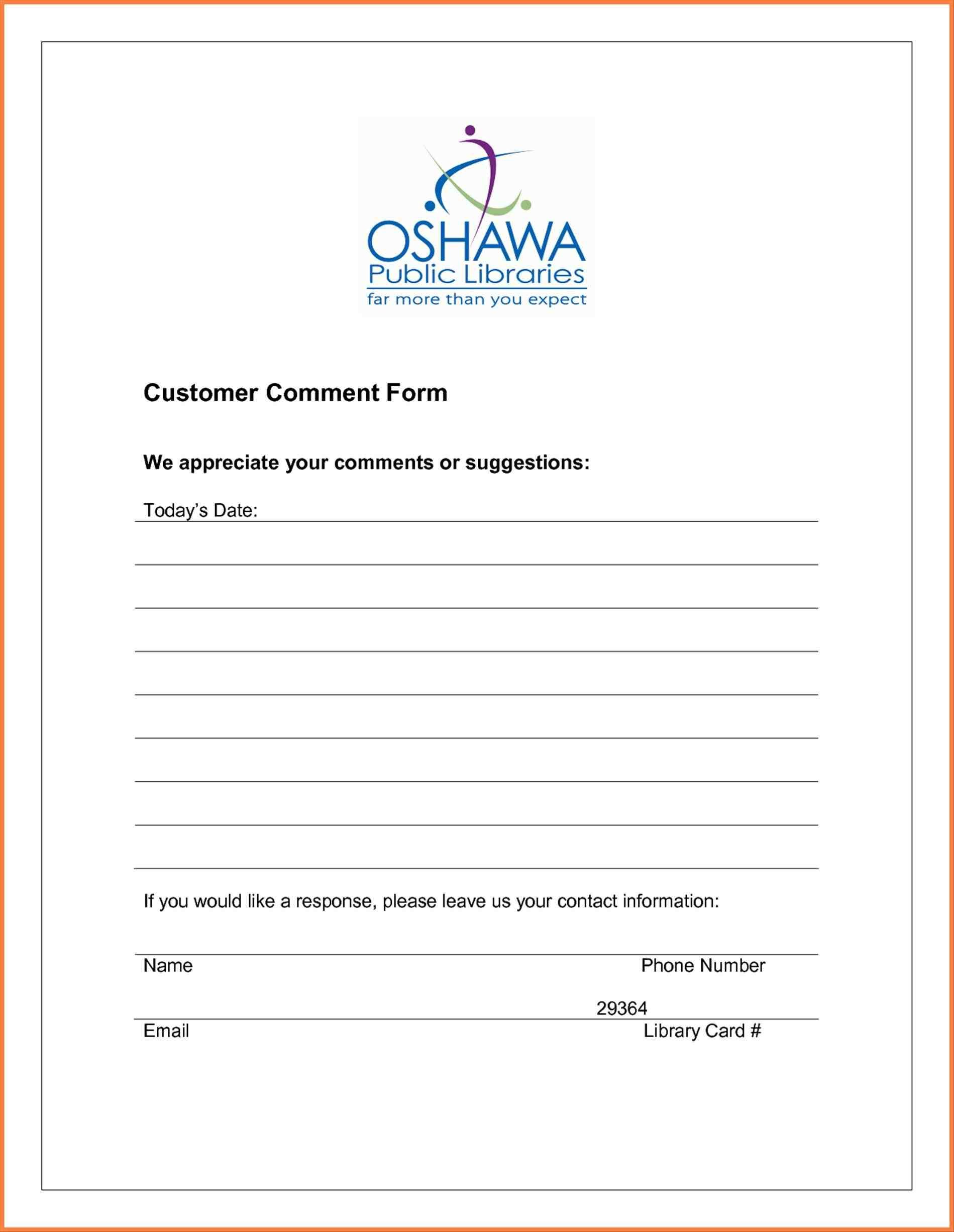 Restaurant Comment Card Template Ideas My Survey Cards Templates Within Customer Information Card Template