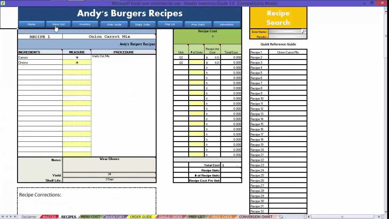 Restaurant Excel  How To Recipes Video  Youtube Throughout Restaurant Menu Costing Template