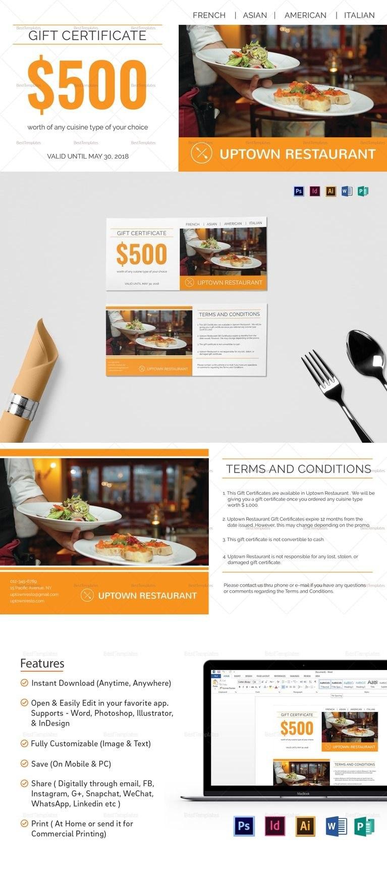 Restaurant Gift Certificate Template  ❱❱ Restaurant Templates Intended For Indesign Gift Certificate Template