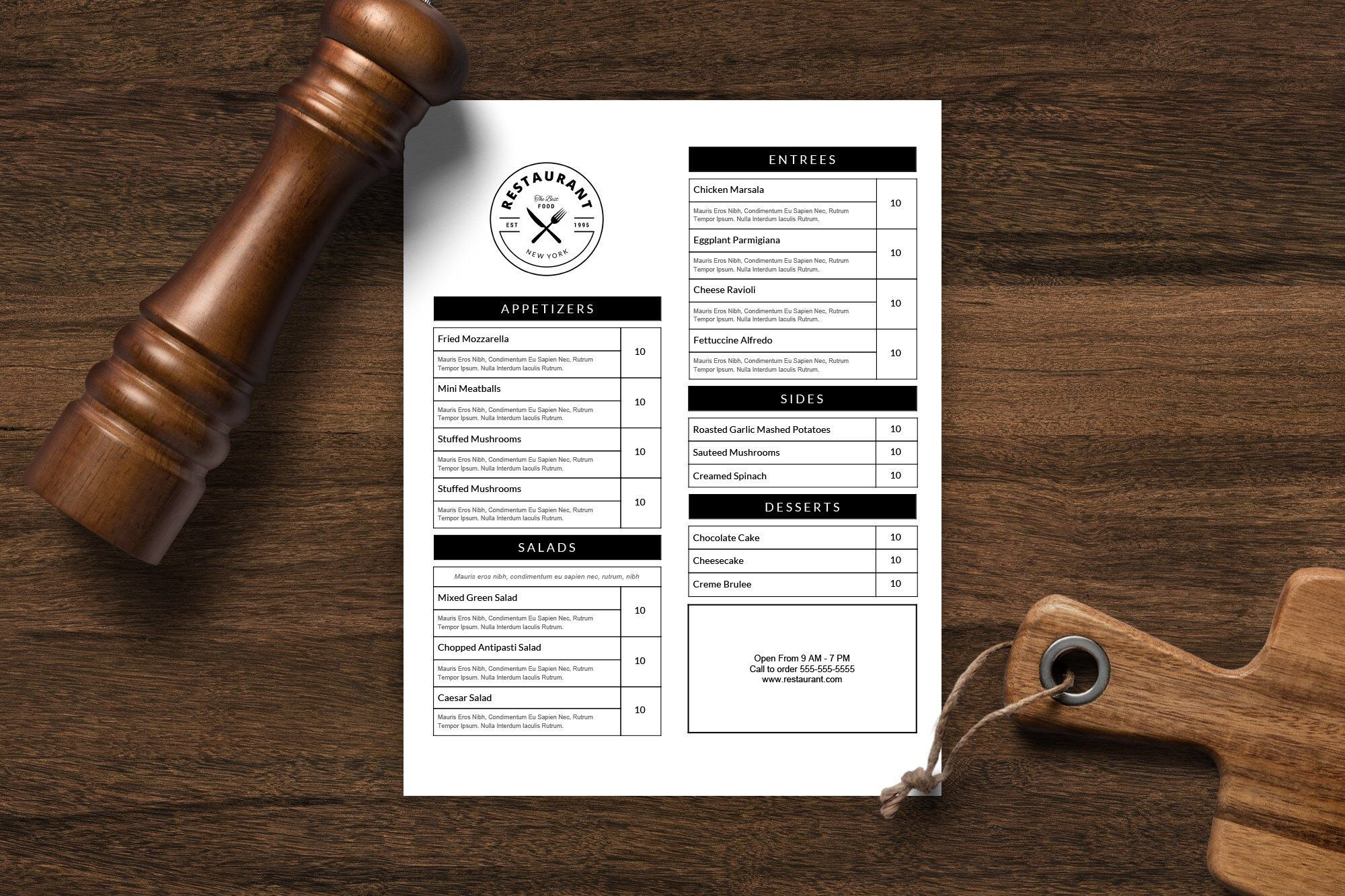 Restaurant Menu Template Menu Design Printable Menu Editable Menu For Menu Template Google Docs