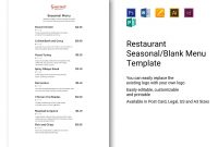 Restaurant Seasonalblank Menu Template In Psd Word Publisher regarding Menu Template For Pages
