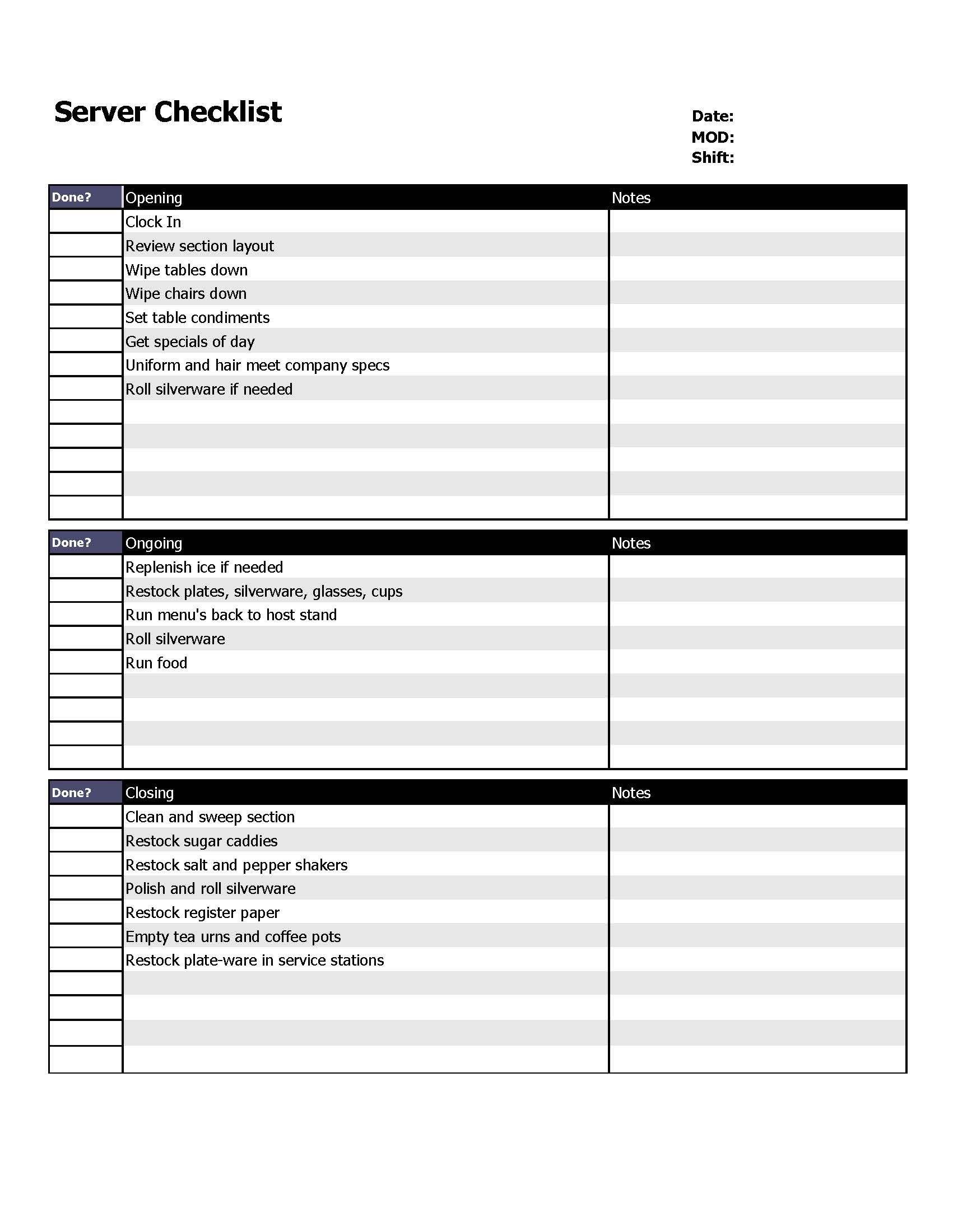 Restaurant Server Checklist Form  Organizing  Restaurant Cleaning Within Menu Checklist Template