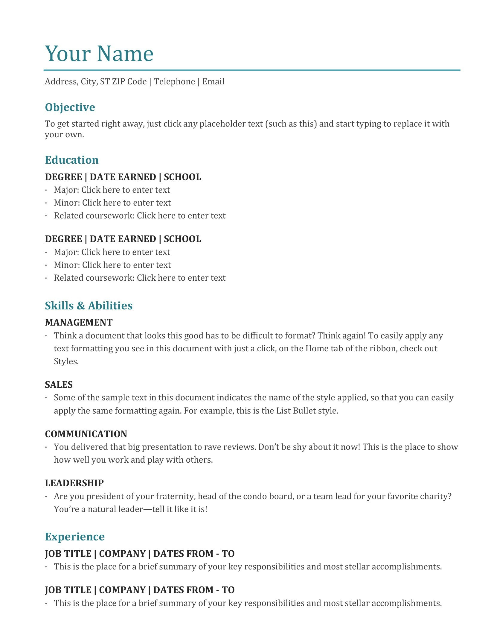 Resumes And Cover Letters  Office In Resume Templates Microsoft Word 2010