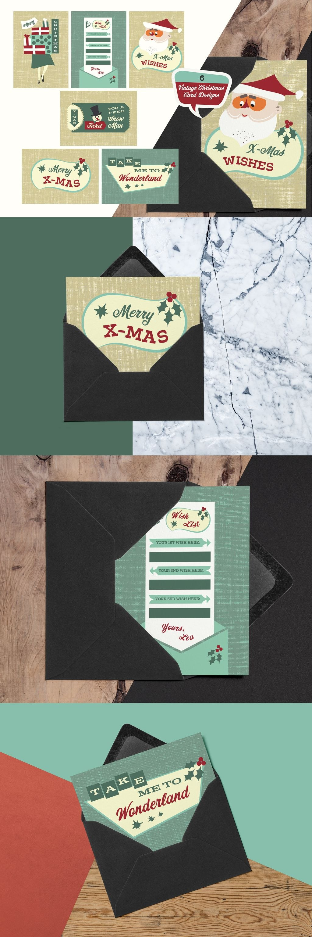 Retro Christmas Cards Template For Adobe Illustrator Template Inside Adobe Illustrator Christmas Card Template