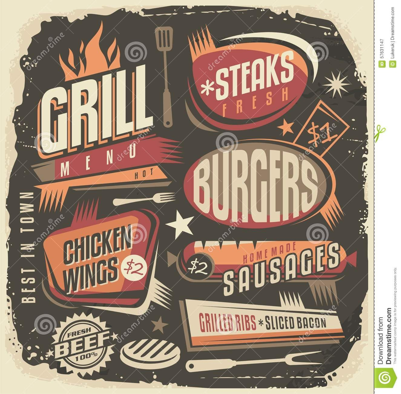 Retro Grill Menu Design Template Stock Vector  Illustration Of With Regard To Fun Menu Templates