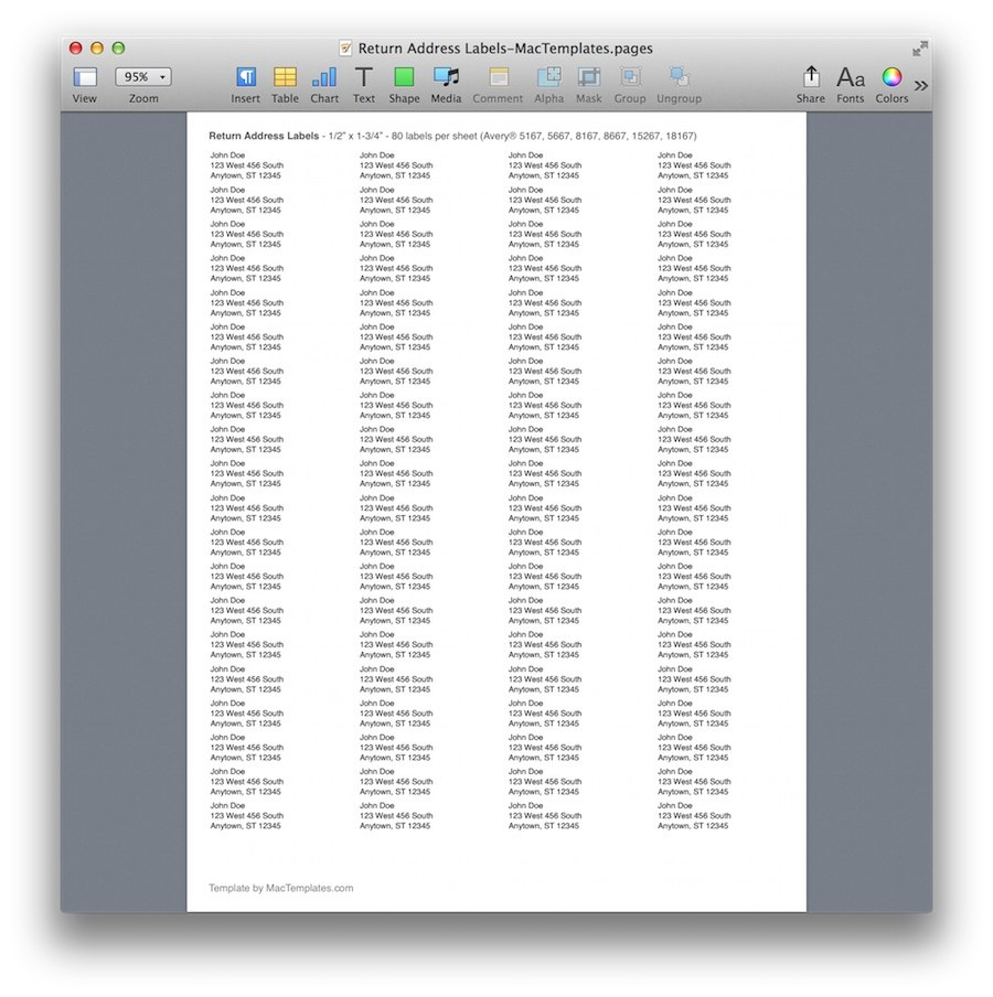 Return Address Labels  Mactemplates Within Label Templates For Pages