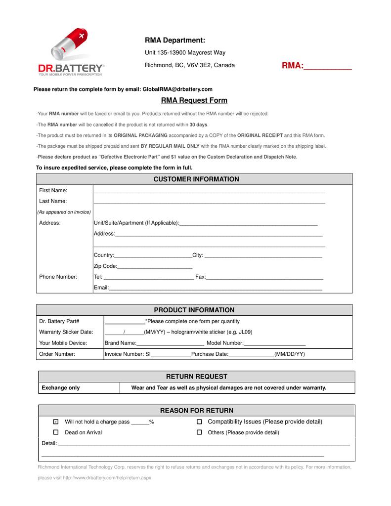 Rma Department Rma Rma Request Form Regarding Rma Report Template