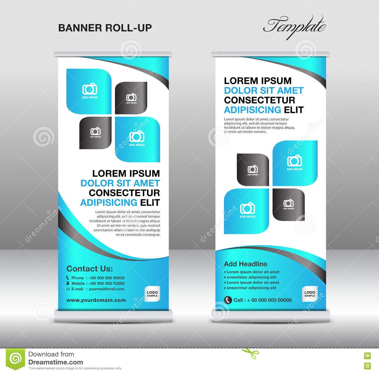 Roll Up Banner Stand Template Stand Designbanner Templateblue With Banner Stand Design Templates