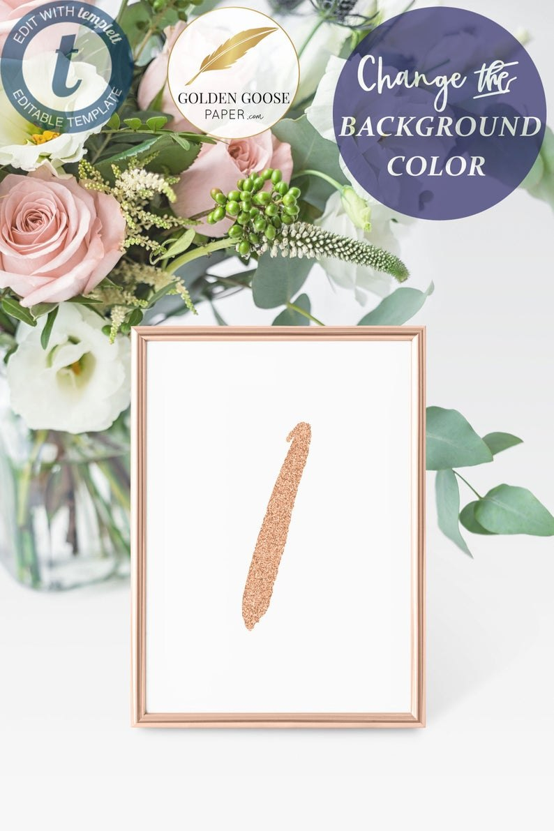 Rose Table Number Card Template Wedding Table Numbers  Etsy Regarding Table Number Cards Template