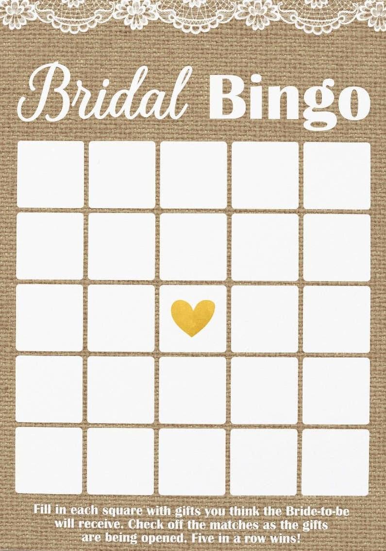 Rustic Bridal Shower Bingo Burlap And Lace Bingo Printable Bridal Regarding Blank Bridal Shower Bingo Template