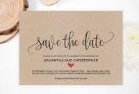 Rustic Save The Date Template Kraft Save The Date Heart  Etsy in Save The Date Powerpoint Template