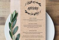 Rustic Wedding Menu Template Printable Menu Card Editable throughout Editable Menu Templates Free