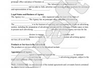 Sample Advertising Agency Agreement Form Template  Advertising Intended For Legal Representation Agreement Template