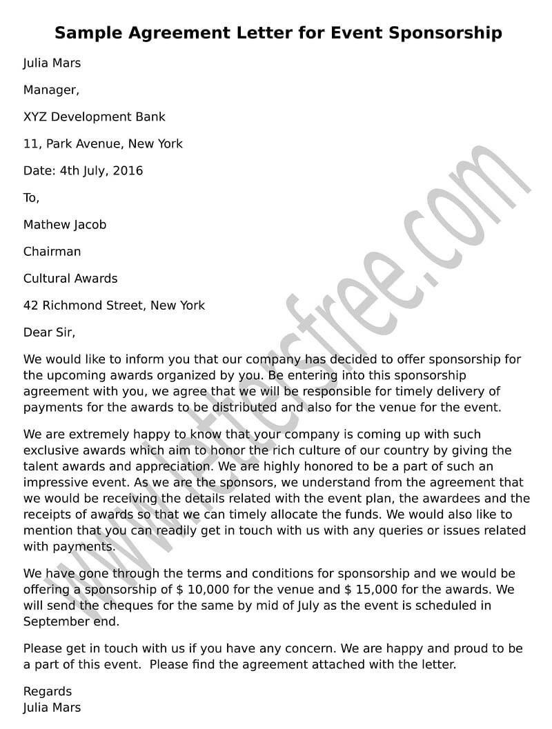 Sample Agreement Letter For Event Sponsorship Agreement Letter In Tv Show Sponsorship Agreement Template