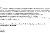 Sample Agreement Subordinate Profit Participating Loan Webetyoupdf throughout Profit Participation Loan Agreement Template