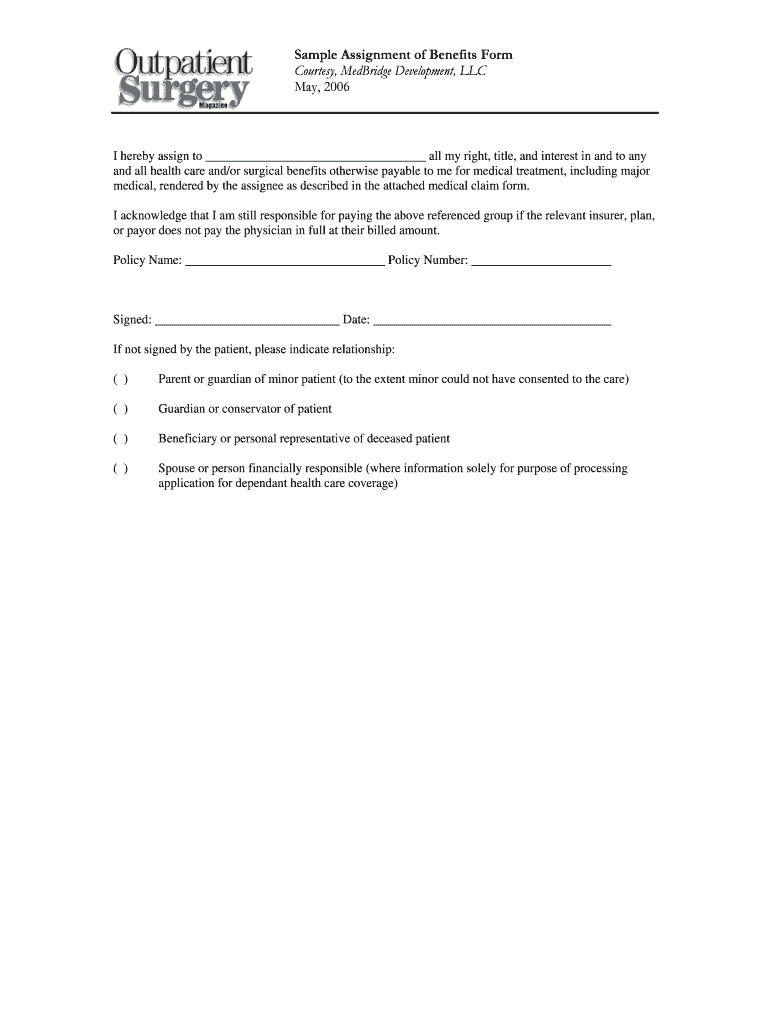 Sample Assignment Of Benefits Form Courtesy Fill Online Printable With Claim Assignment Agreement Template