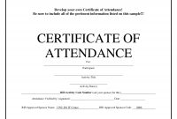 Sample Certificate Of Attendance Template  Sansurabionetassociats with Conference Certificate Of Attendance Template