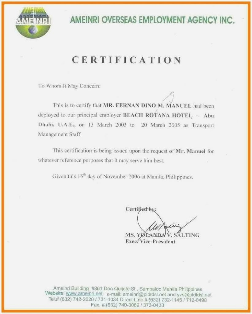 Sample Certificate Of Employment Hotel Letter Of Separation From With Sample Certificate Employment Template