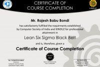 Sample Certificates  Lean Six Sigma India inside Green Belt Certificate Template