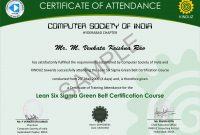 Sample Certificates  Lean Six Sigma India intended for Green Belt Certificate Template