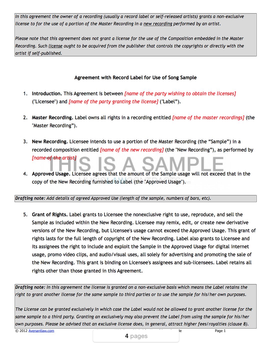Sample Clearance Contract Templates X Inside Record Label Artist Contract Template