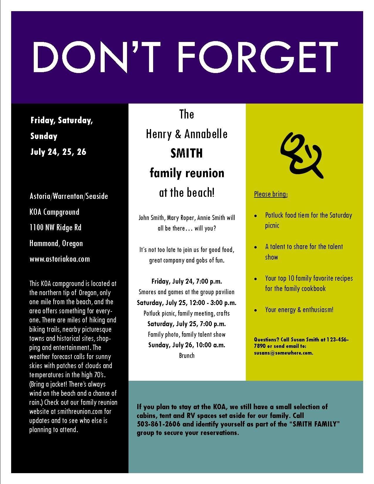 Sample Family Reunion Invitation Flyer  Ideas For Family Reunions With Reunion Invitation Card Templates