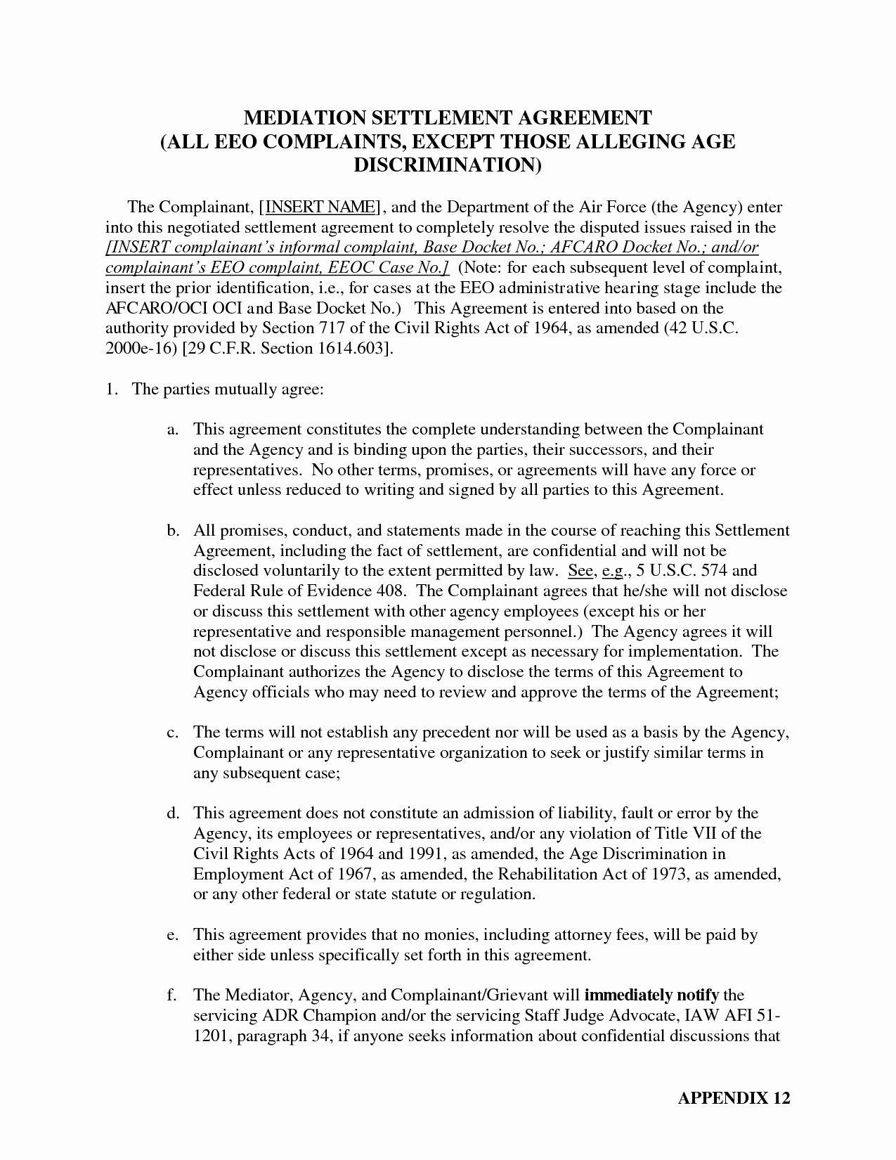 Sample Mediation Settlement Agreement  Lera Mera For Divorce Mediation Agreement Template
