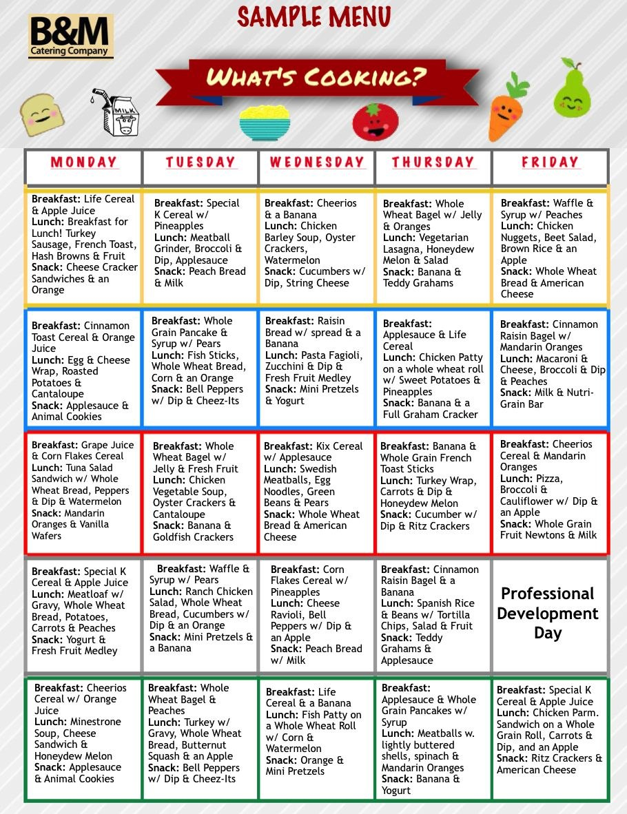 Sample Menu For Childcare Lunches Southern New England Catering Within School Lunch Menu Template